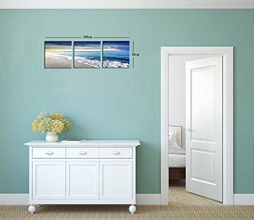 Yang Hong Yu - Canvas Prints Beach Seaside Seascape Pictures Print on Canvas Wall Art Stretched Artwork for Home Office Decorations Small Size 12x12inch