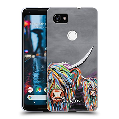 Official Steven Brown Rab & Isa Mccoo Highland Cow Collection 2 Soft Gel Case for Google Pixel 2 - Isa Google
