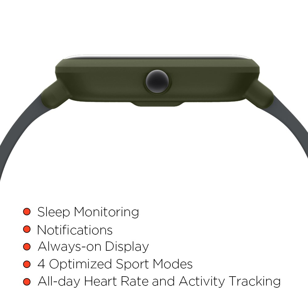 Bluetooth GPS Amazfit BIP smartwatch by Huami with all-day heart rate and activity tracking sleep monitoring 30-day battery life Green