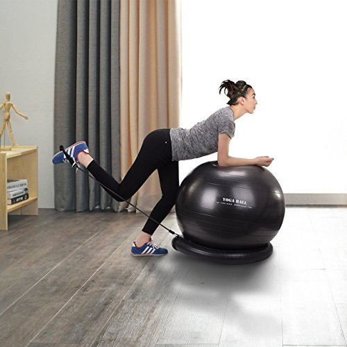 Homitt Exercise Yoga Ball, Gym Ball Anti Bust Stability Ball Set Stability Ring, Resistance Bands, Foot Pump Improve Balance, Core Strength, Stay in Shape, Physical Therapy Home, Office, Gym by Homitt (Image #6)