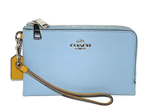 Coach Colorblock Double Corner Zipper Blue Sunflower Yellow Leather Wristlet, 64799 by Coach (Image #8)
