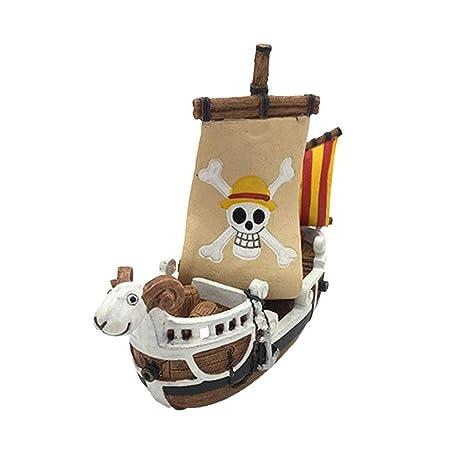 TUANMEIFADONGJI One Piece Barco Pirata paisajismo Acuario Tanque de Peces paisajismo Escalada Caja de Mascotas decoración