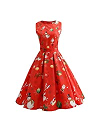 Women Christmas Sleeveless Print Pleated Skater Party Cocktail Dresses Pockets