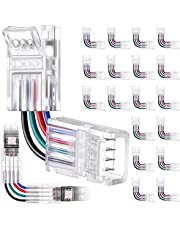 20 Pieces L Shape 4-Pin LED Strip Connectors Angle Adjustable LED Light Strip Connectors Right Angle Corner Solderless Adapter LED Connector for 10 mm/ 0.39 Inch 5050 RGB LED Strip Lights