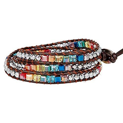 Chakra Bracelet Jewelry Handmade Leather Bracelet Multi Color Spare Crystal Beads Natural Stone Bracelet