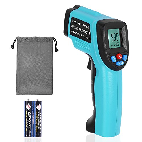 Price comparison product image Ceenwes Infrared Thermometer with WATERPROOF STORAGE BAG Digital Temperature Gun Non-Contact Laser Thermometer with Adjustable Emissivity and MAX MIN AVG Display -50 ~ 550 / -58~ 1022