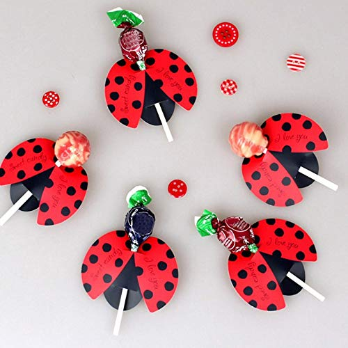 - Dhanxinz Party Birthday Props Halloween 50pcs/lot Candy Lollipop Decoration Gift Cute Bees Ladybug Butterfly Design Lollypop Card Lovely Props For Kid's Birthday Party (Random)