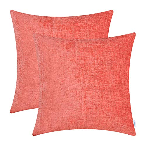 CaliTime Pack of 2 Cozy Throw Pillow Covers Cases for Couch Sofa Home Decoration Solid Dyed Soft Chenille 16 X 16 Inches Living Coral