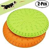 Legendog 2 Pcs Dog Flying Disc Rubber Catcher Toy 9 Inch Large Dog Toys(Green&Orange)