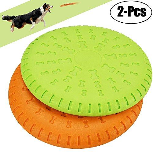 Legendog 2 Pcs Dog Flying Disc Rubber Catcher Toy 9 Inch Large Dog Toys(Green&Orange) (Kong Disk)