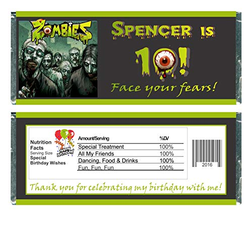 Zombies Birthday Chocolate Bar Wrappers, Party Favors (set of -