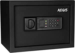 0.57 cu.ft Electronic Security Safe Box-Safes and Lock Boxes, Money Box, for Home Hotel Office Cash Jewelry,Battery and Keys Included (Black)-AEGIS
