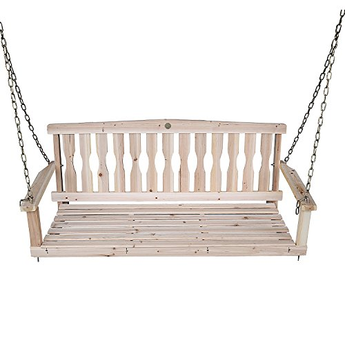 Songsen Outdoor Unfinished 4FT Wooden Porch Swing Chair Pati