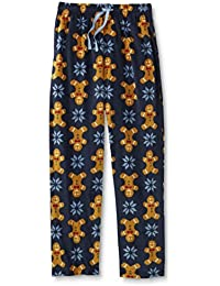 Mens Gingerbread Man Snowflake Fleece Sleep Pants Pajama Bottoms