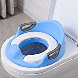 cushion toilet seat covers Potty Training Seat For Kids Boys Girls Toddlers Toilet Seat For Baby With Cushion Handle Backrest Toilet Trainer For Round And Oval Toilets (Blue)