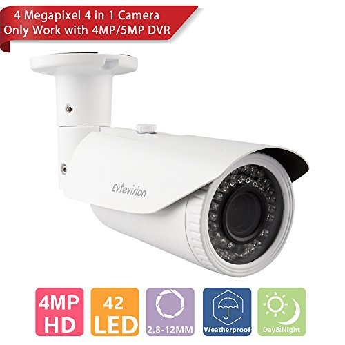 Evtevision 4 Megapixel Security Camera AHD Bullet Camera AHD/TVI/CVI/Analog 4 in 1 Weatherproof Outdoor/Indoor Night Vision 130ft(40m) IR Distance 2.8-12mm Vari-focal Lens, OSD Menu UTC IR-cut (Vari Focal Cctv Camera)