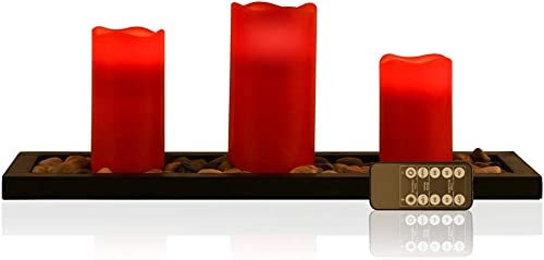 Red Flameless Candles Led Candle Gift Set of 3 Pillar Candles, Candlescape Led Tea Light Set with Decorative Pebbles Rocks and Wood Tray, 10-Key Remote Timer, Gift for Home, Wedding, Party, Room, Spa