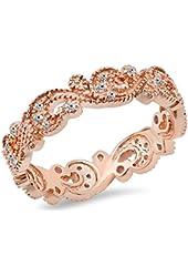 0.25 Carat (Ctw) 14K Gold Round White Diamond Ladies Vintage Wedding Eternity Band Stackable Ring 1/4 CT