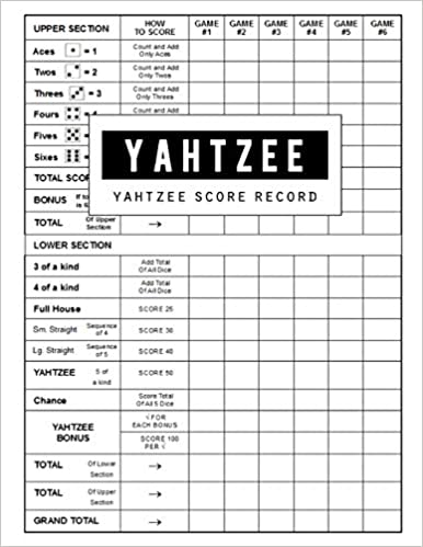 graphic relating to Printable Yahtzee Score Sheets 2 Per Page named Yahtzee Ranking Heritage: Yahtzee Sport History Rating Keeper Reserve
