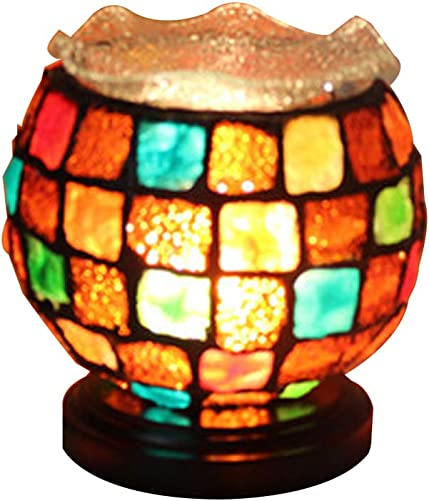 Amora Lighting Tiffany Style Accent Lamp 10 Tall Stained Glass Yellow Red Dragonfly Floral Vintage Antique Light Decor Nightstand Living Room Bedroom Gift AM270ACCB, Multicolor,Medium