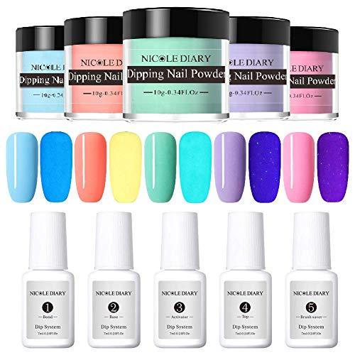 NICOLE DIARY Dip Nail Powder Nail Kit Luminous Dipping Nail Powder Starter System Liquid No Need UV/LED lamp for Nail Art Set(with Bond,Base,Activator,Top,Brush Saver)
