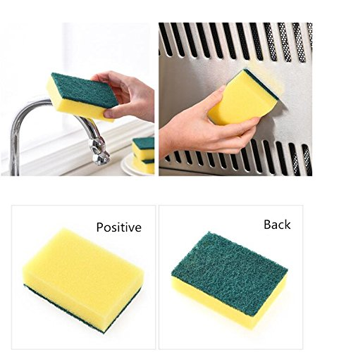 Home Clean Decontamination High Density Emery Sponge Wipe Multifunction Kitchen Cleaning Tool Car Cleaning Wipe Dish Bathroom (2 (Jane Iredale Flocked Sponge)