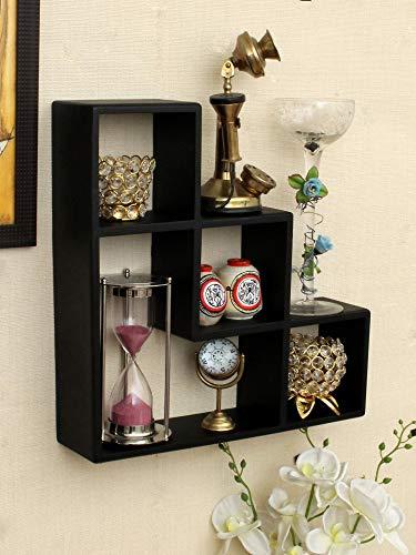 Home Sparkle L Shaped Floating Wall Shelfs | Wall Mounted Shelves for Living Room Home Decor  Black