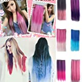 TINYPONY® Fashionable Multicolor Gradually Varied One Piece Straight Synthetic Clip-on Hair Extension 60cm Length,Multiple Choice
