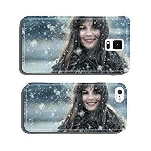 Beautiful young woman in a winter snow day cell phone cover case Samsung S6