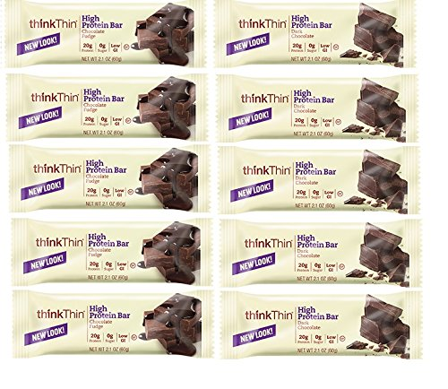 ThinkThin Bundle (Pack of 10)- 2 Flavors: Dark Chocolate and Chocolate Fudge