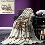 Steam Engine Throw Blanket Old Times Train Vintage Hand Drawn Iron Industrial Era Locomotive Warm Microfiber All Season Blanket for Bed or Couch 50''x30'' Ivory Pale Caramel
