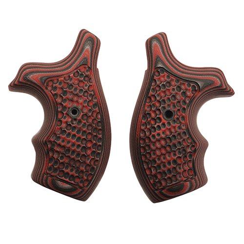 Hogue 61639 S&W J Frame Round Butt Grip, Bantam Piranha G-10 G-Mascus Red Lava