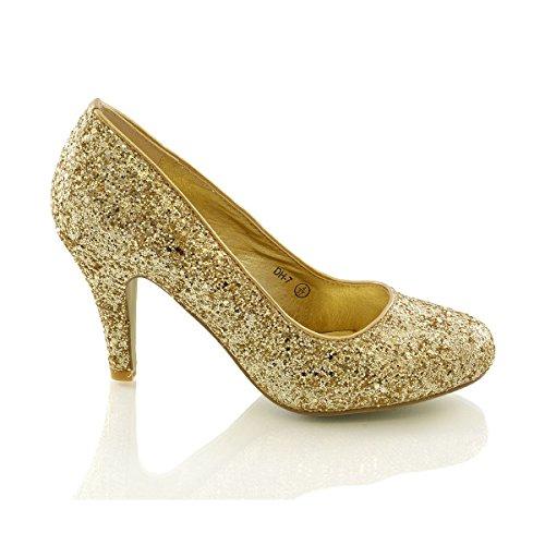 Taglia Glam Donna Glitter Essex Oro Basso Da Tacco Scarpetta Matrimonio CqwZ0p