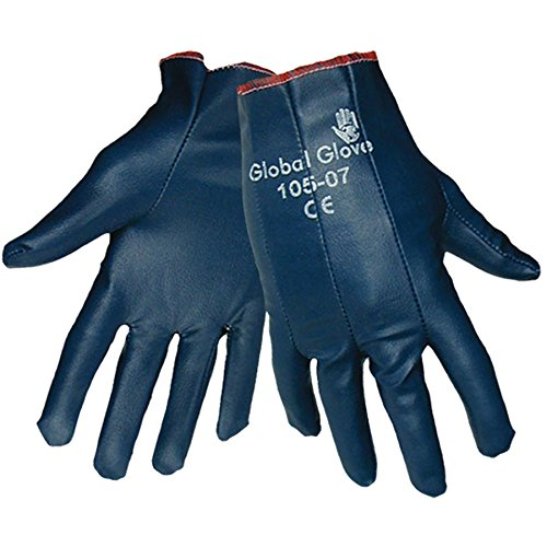 Global Glove 105 Nitrile Impregnated Dipped Glove, Work, Large, Light Blue (Case of 144) (Glove Impregnated Work)