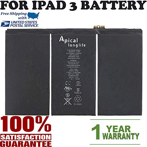 Brand New Replacement Battery for iPad 3 A1416, A1430 & iPad 4 A1458, A1459, A1460, A1389, 616-0586, 616-0591, 616-0592, 616-0593, 616-0604 (Batería de repuesto)