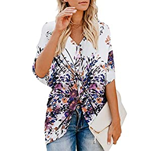 Dokotoo Womens Fashion Floral Blouses Short Sleeve V Neck Twist Ruched Tops and T Shirts S-XXL