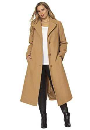 Roamans Women's Plus Size Long Wool Coat at Amazon Women's ...