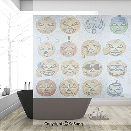 3D Decorative Privacy Window Films,Carved Pumpkin with Emoji Faces Halloween Humor Hipster Monsters Art,No-Glue Self Static Cling Glass Film for Home Bedroom Bathroom Kitchen Office 36x36 Inch
