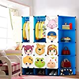 NEW Kids 12 Cubes Wardrobe Childrens Storage Cabinet Boxes Character Design Shoes Storage Corner Storage Cubes Pink Green Blue (Blue)