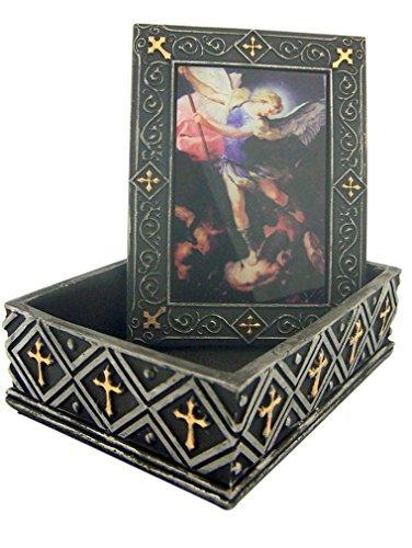 Saint St Michael the Archangel 4 2/3 Inch Rosary Relic or Jewelry Keepsake Box