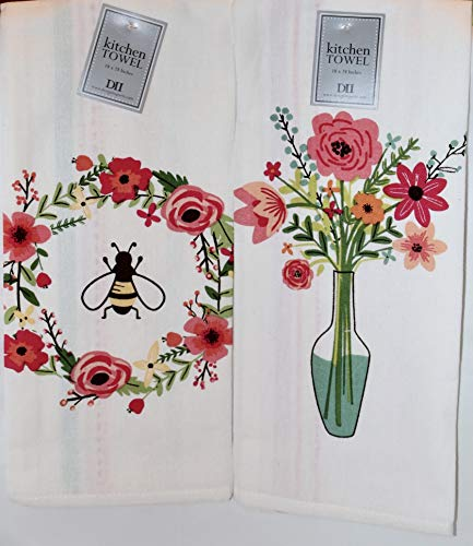 Design Imports DII Spring Summer Floral Printed Dish Towels - Set of 2 - Honey Bee Wreath - Flower - Printed Dish Towel