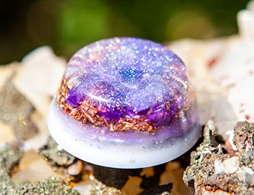 Violet Flame Orgone Generator ~ Orgon Crystal Palm Piece ~ Calm and Soothe Crystal Healing Energy
