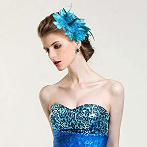 Flower Hair Clip and Rubber Rope Bands with Feathers and Beaded Tassel for Wedding Prom Pack of 2pcs 37
