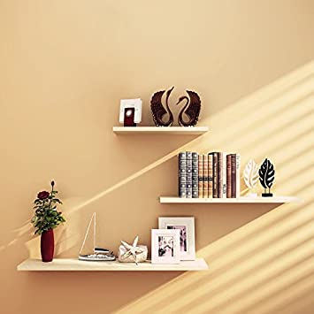 S-60CM Home Office Decor White Wall Shelf MDF Board Shelf Display Storage Bookshelf Wall Mounted GHC Floating Wall Shelf