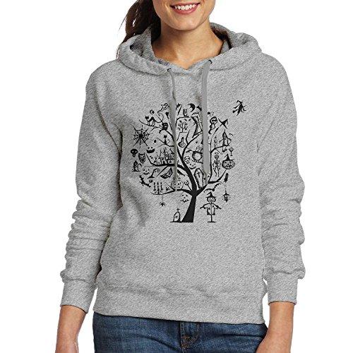 Female Models Long Sleeve Sweater Halloween Witch Ghost Cat Pumpkin Tombstone CaricatureFashion Casual Sweater Hooded Sweatshirt -