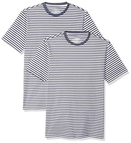 Amazon Essentials Men's Slim-fit Short-Sleeve 2-Pack Stripe Crewneck T-Shirts, Navy/White, Medium (The Boy In The Striped Pajamas Sparknotes)