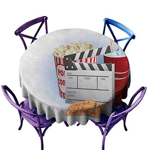 ONECUTE Round Tablecloth,Movie Theater Soda Tickets Fresh Popcorn and Clapper Board Blockbuster Premiere Cinema,High-end Durable Creative Home,47 INCH Multicolor