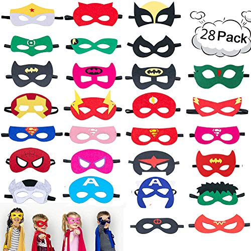 28 Pack Superhero Felt Masks for Kids Party Cosplay Superhero Masks with Elastic Rope Party Favors Mask for Birthday Gifts -