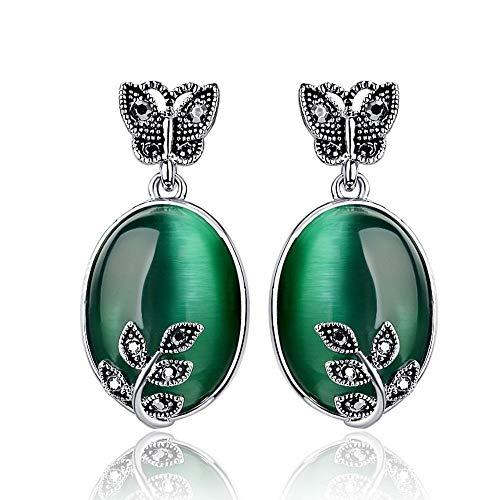 1Pair Jewelry Butterfly Rhinestones Women Leaf Opal Style Earrings Retro