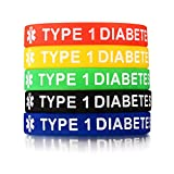 5 Pack Assorted Colors Medical Alert ID Type 1 Diabetes Insulin Dependent Silicone Bracelets Wristband,7.5''